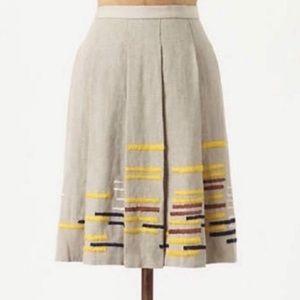Anthropologie Maeve Linen Pleated Skirt
